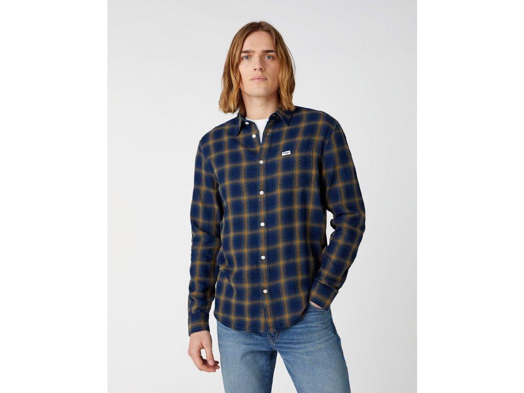 košile Wrangler SHIRT MID INDIGO