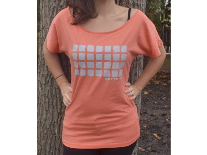 Tričko pro ženy s krátkým rukávem - korálové