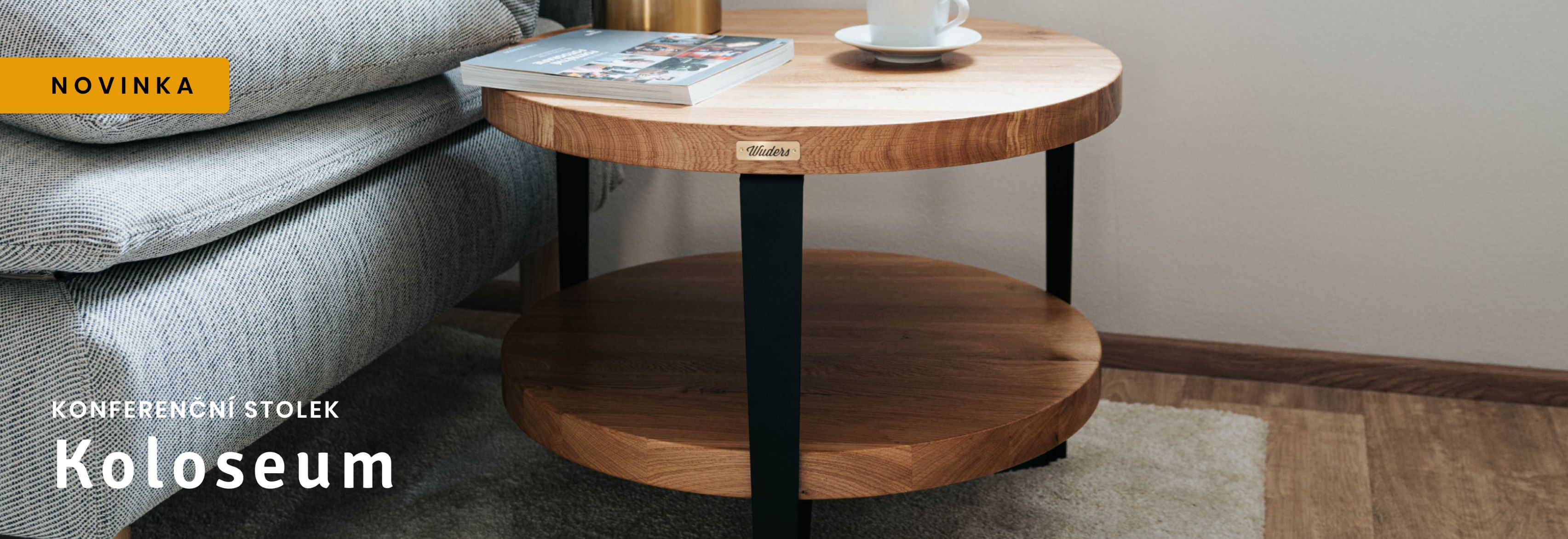 Dvoupatrový dubový konferenční stolek Koloseum