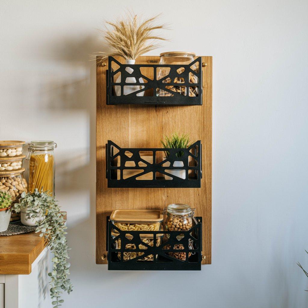 Úložné košíky Moraga z kovu a masivního dubového dřeva