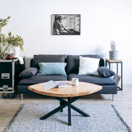 Designový konferenční stolek Foglar s černým podnožím