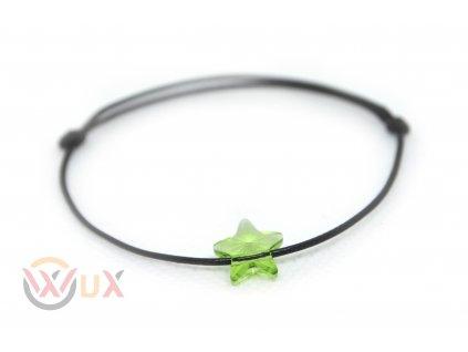 Šňůrkový náramek zelená hvězdička SWAROVSKI