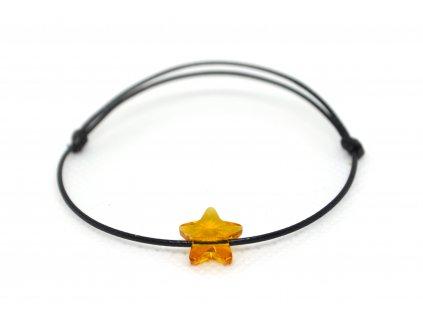 Šňůkový náramek oranžová hvězdička SWAROVSKI
