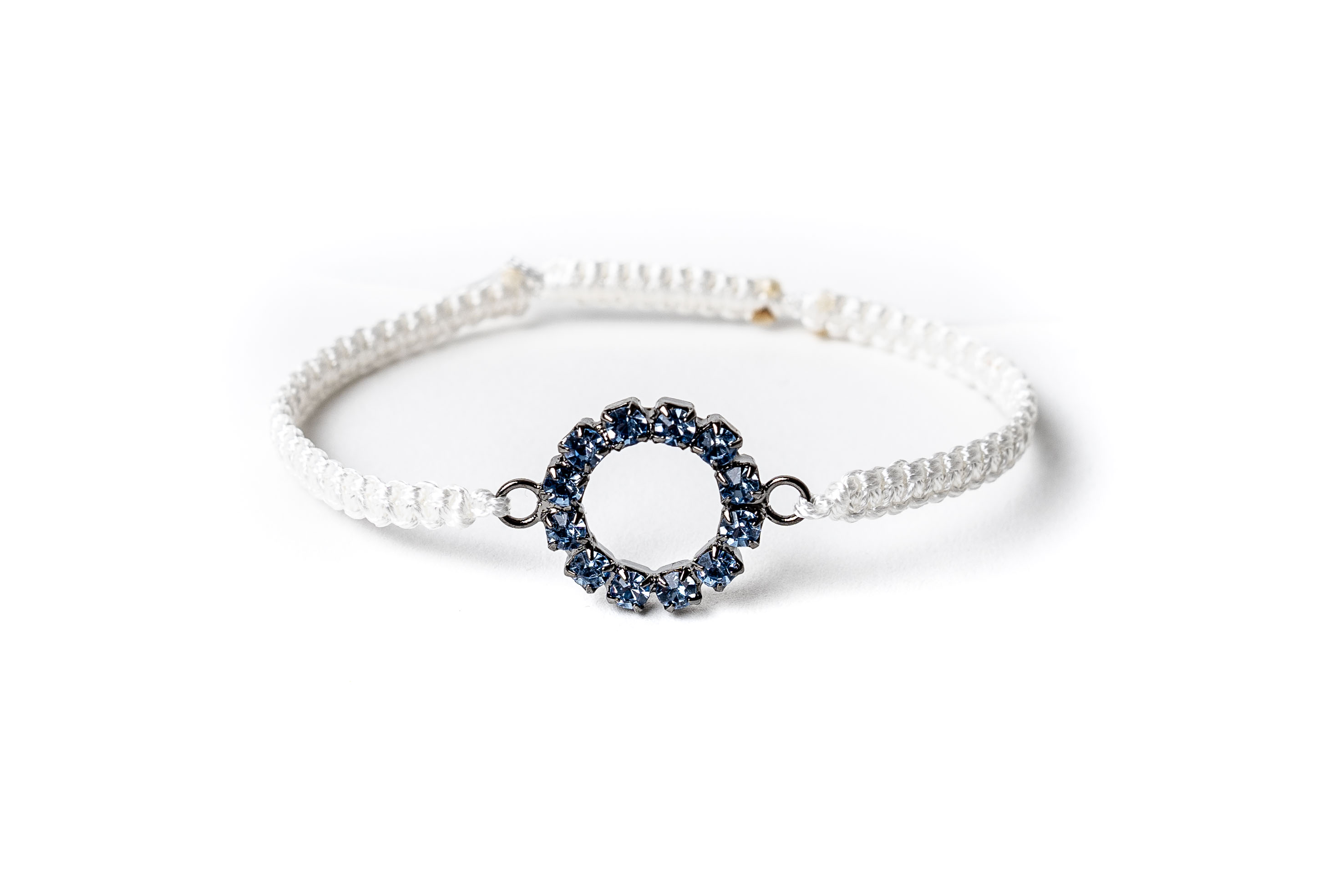 Macramé náramek kolečko s modrými krystaly Bílá, Pánský náramek