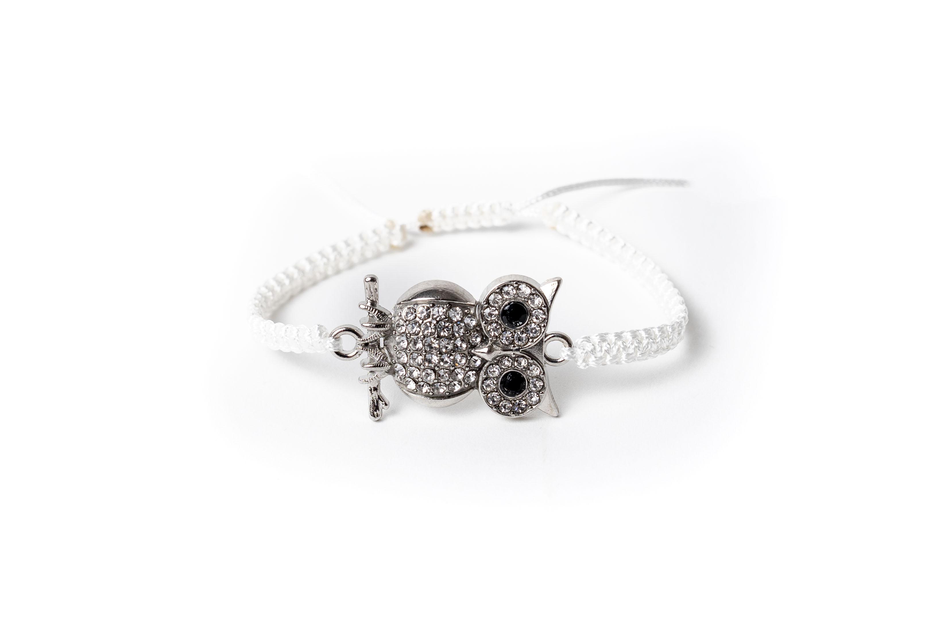 Macramé náramek sova s krystaly Bílá, Pánský náramek