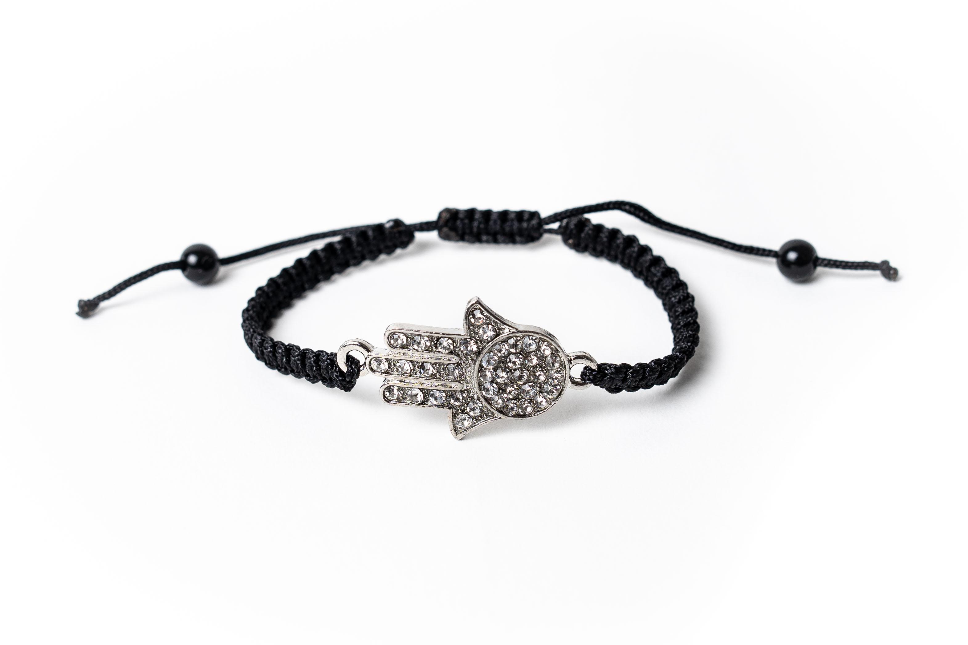 Macramé náramek hamsa s krystaly Černá, Pánský náramek