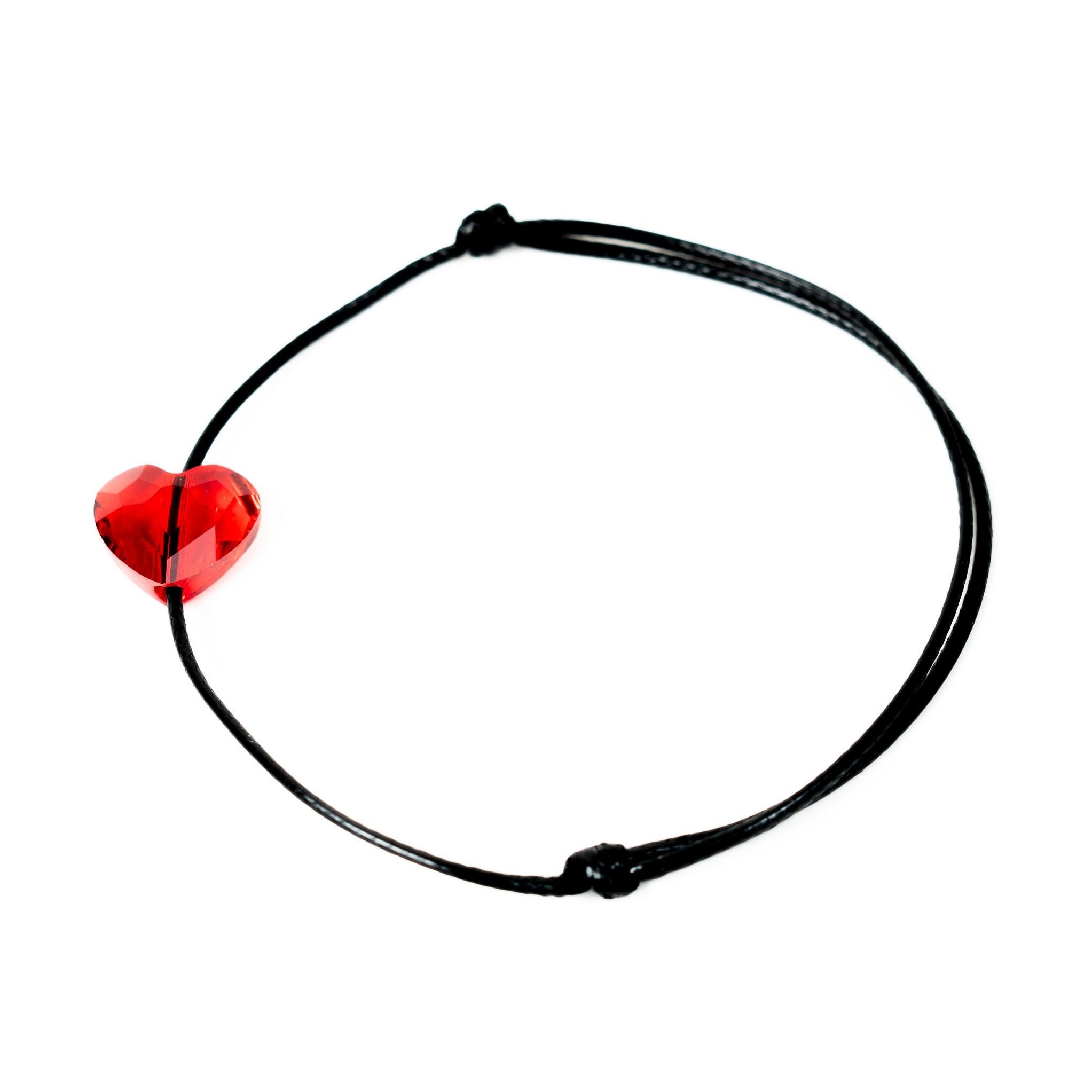 Šňůrkový náramek červené srdíčko SWAROVSKI Růžová šňůrka, Dámský náramek