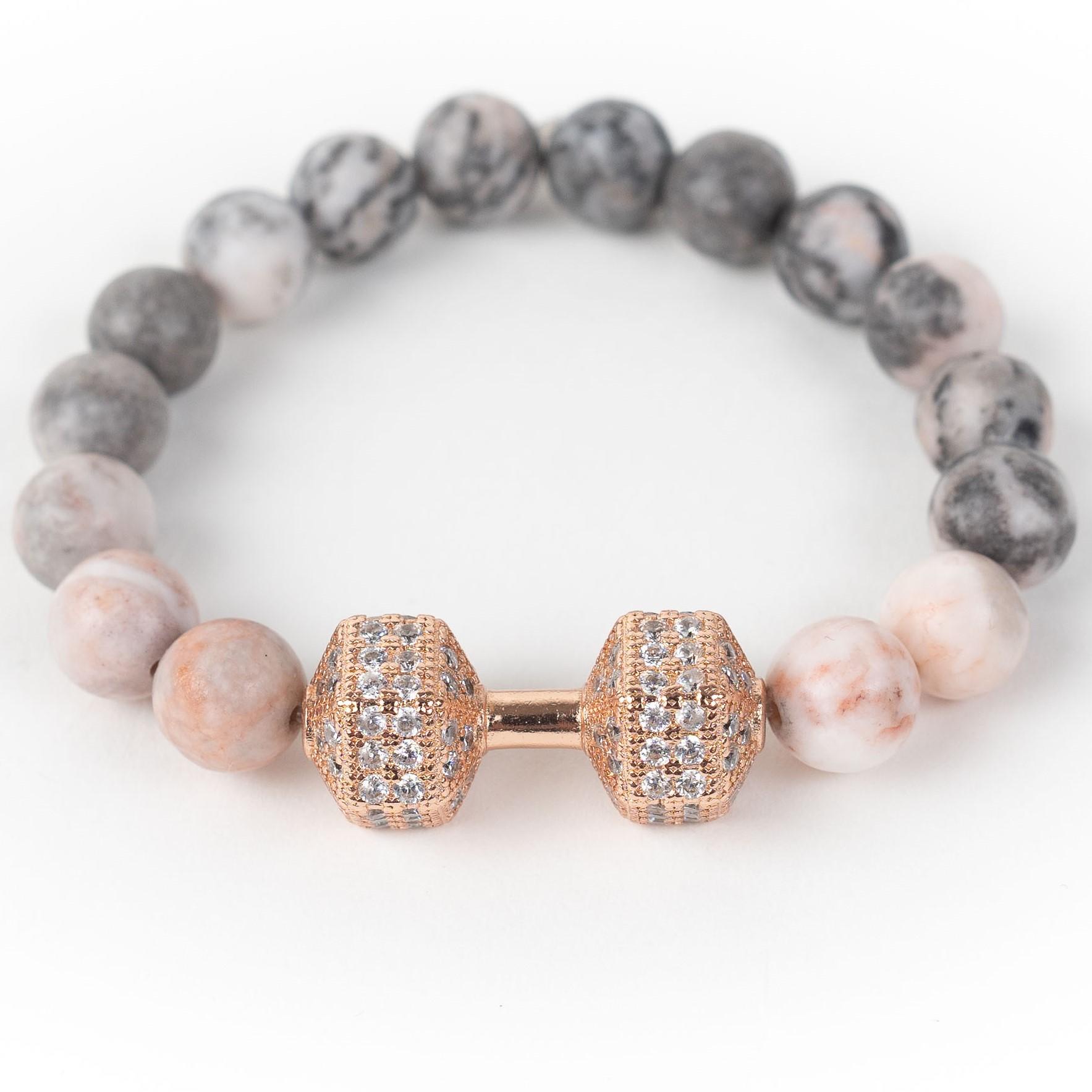 Fitness náramek s krystaly ZEBRA JASPIS Pánský náramek, Růžová činka