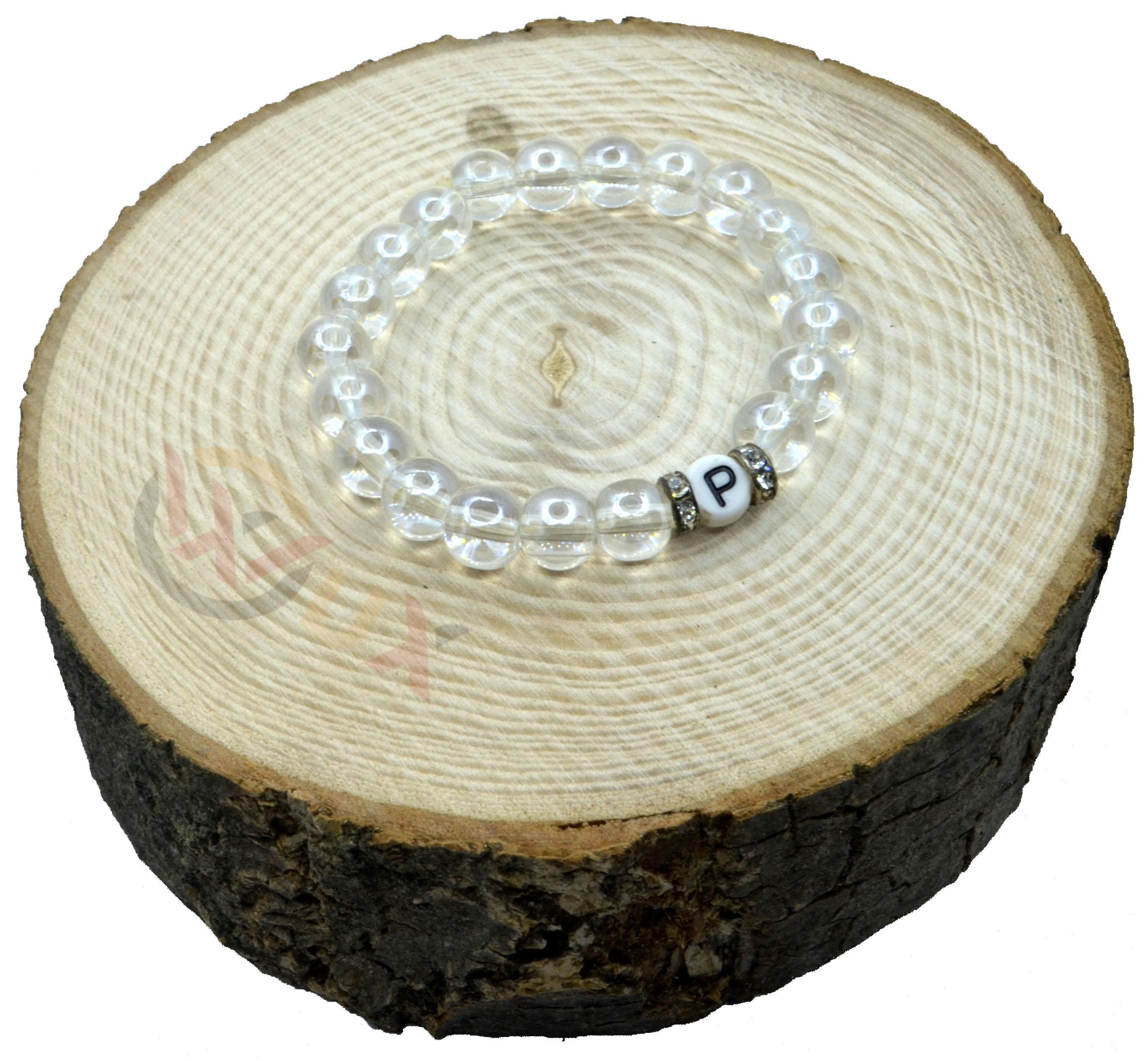 Náramek iniciály KŘIŠŤÁL čirý Dámský náramek, Bílé korálky
