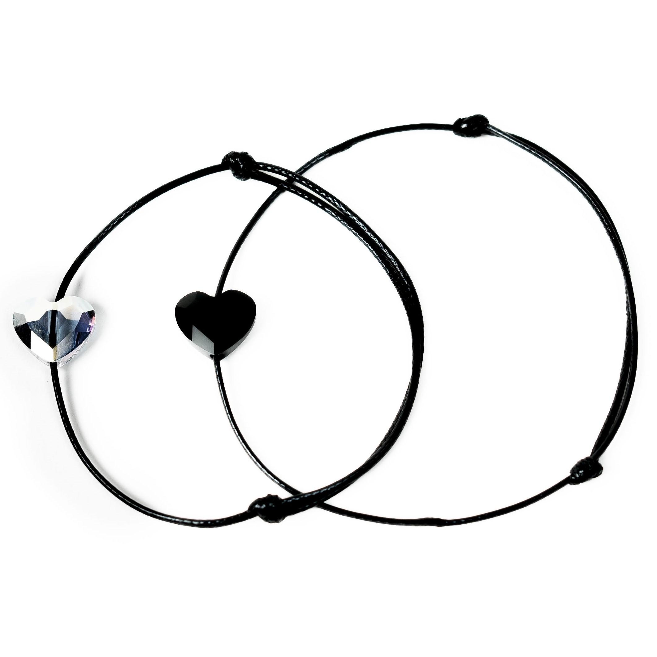 Šňůrkové náramky párové - černé a perleťové srdíčko