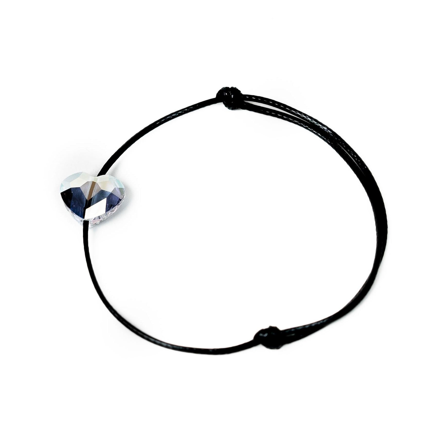 Šňůrkový náramek perleťové srdíčko SWAROVSKI Černá šňůrka, Pánský náramek