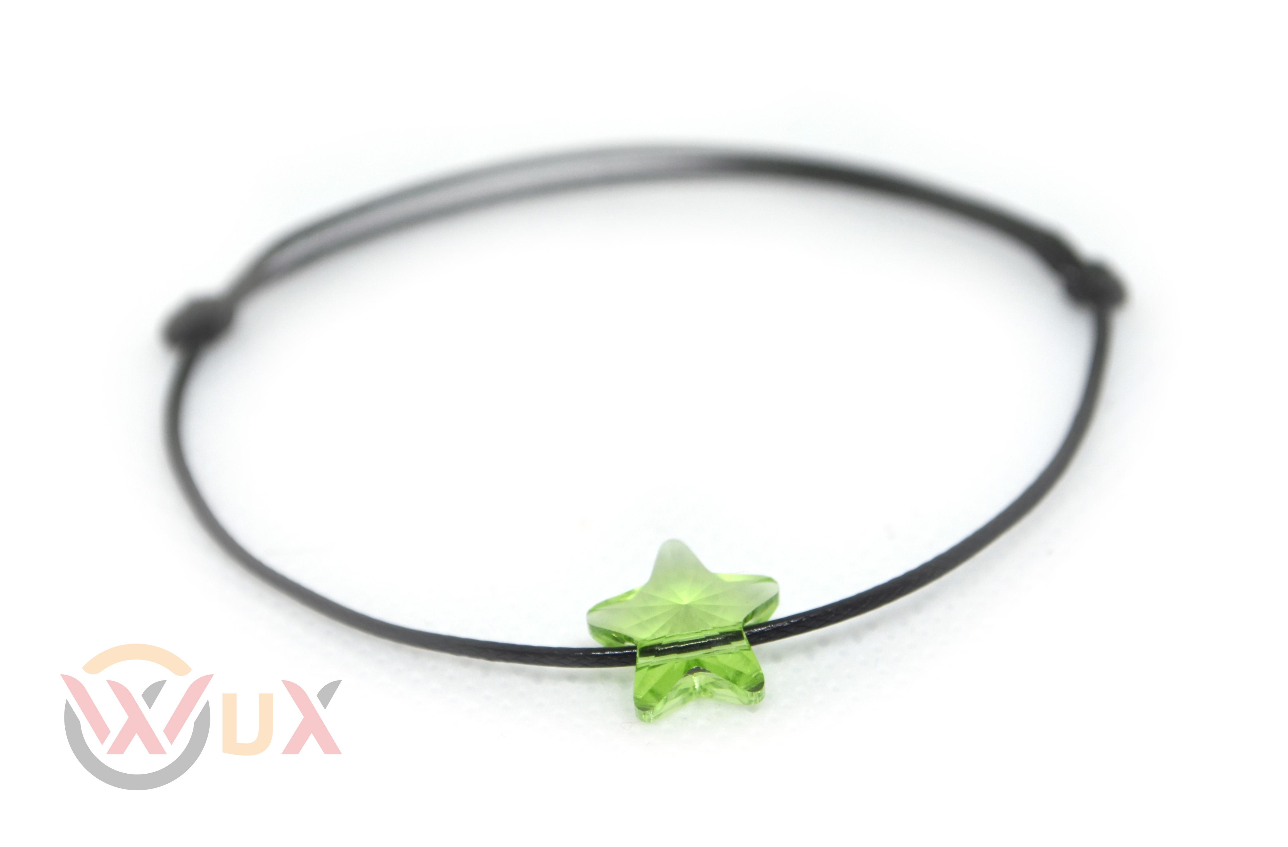 Šňůkový náramek zelená hvězdička SWAROVSKI Černá šňůrka, Dámský náramek