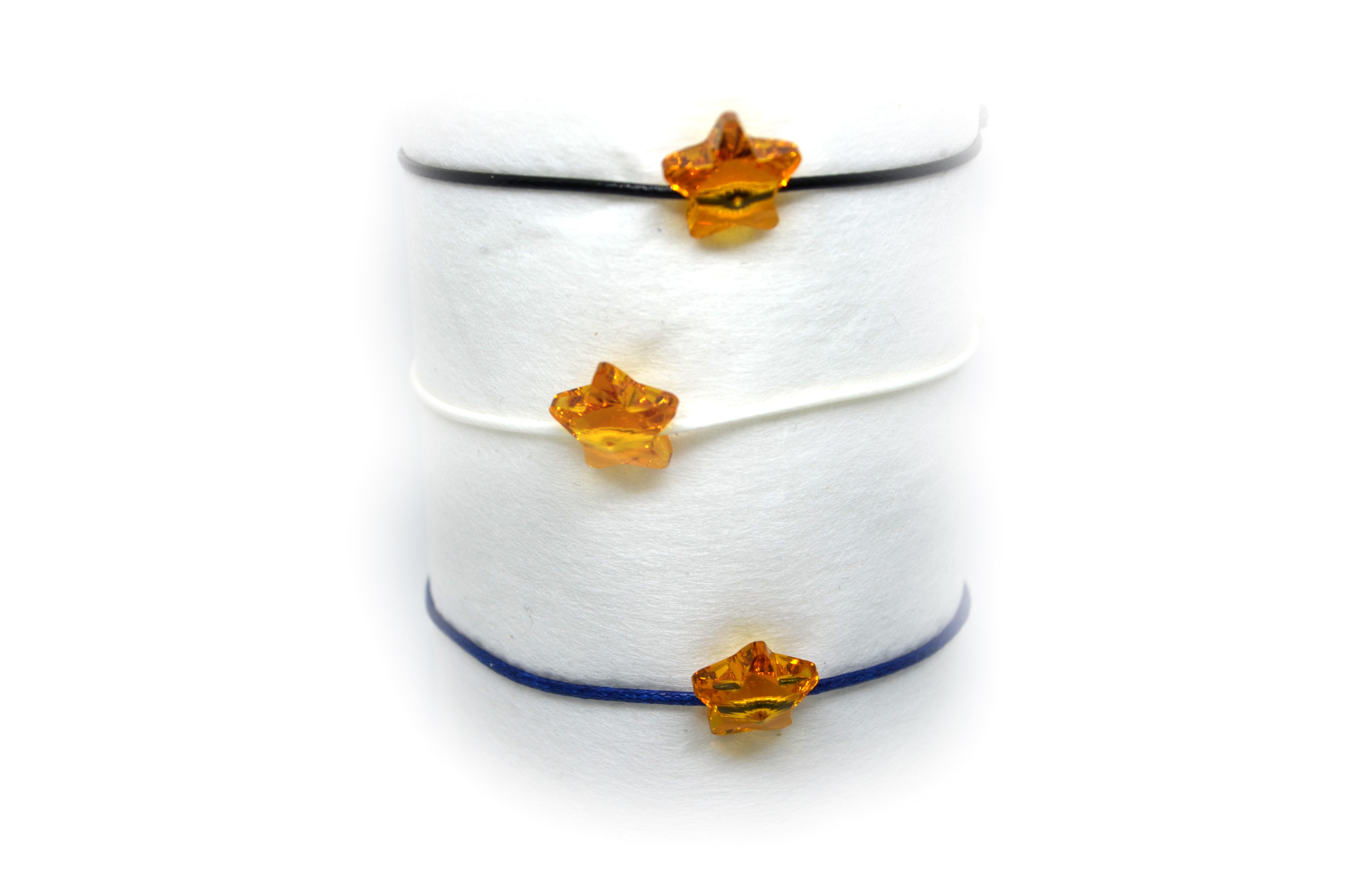 Šňůkový náramek oranžová hvězdička SWAROVSKI Růžová šňůrka, Pánský náramek