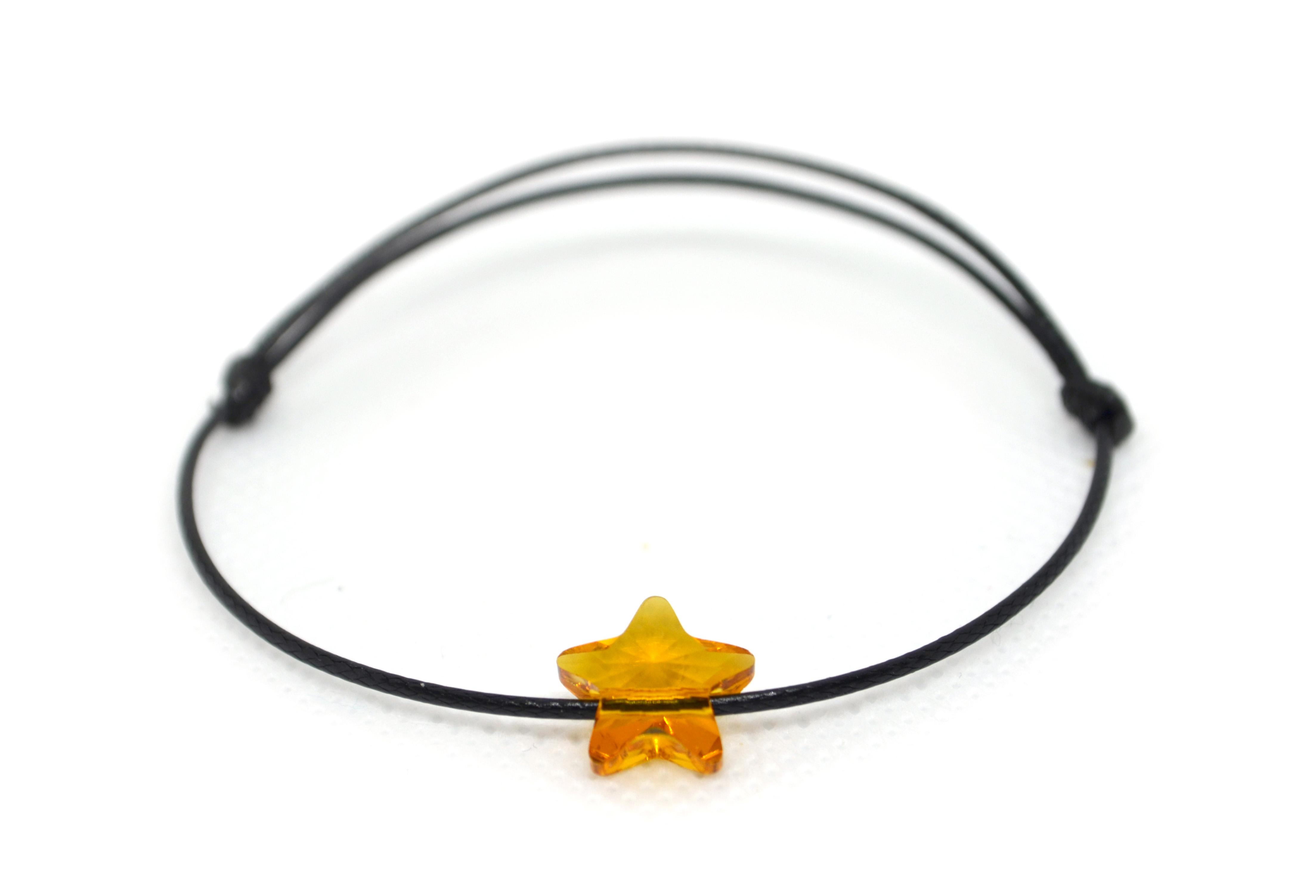 Šňůkový náramek oranžová hvězdička SWAROVSKI Černá šňůrka, Dámský náramek