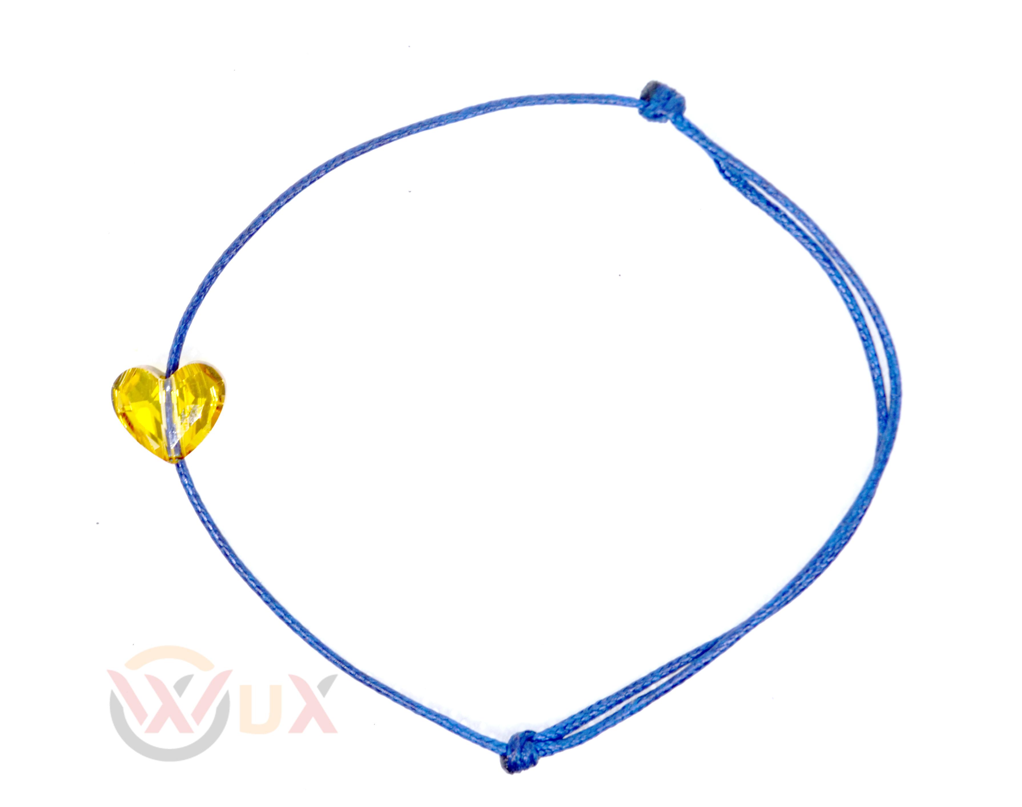 Šňůrkový náramek zlaté srdíčko SWAROVSKI Dámský, Modrá