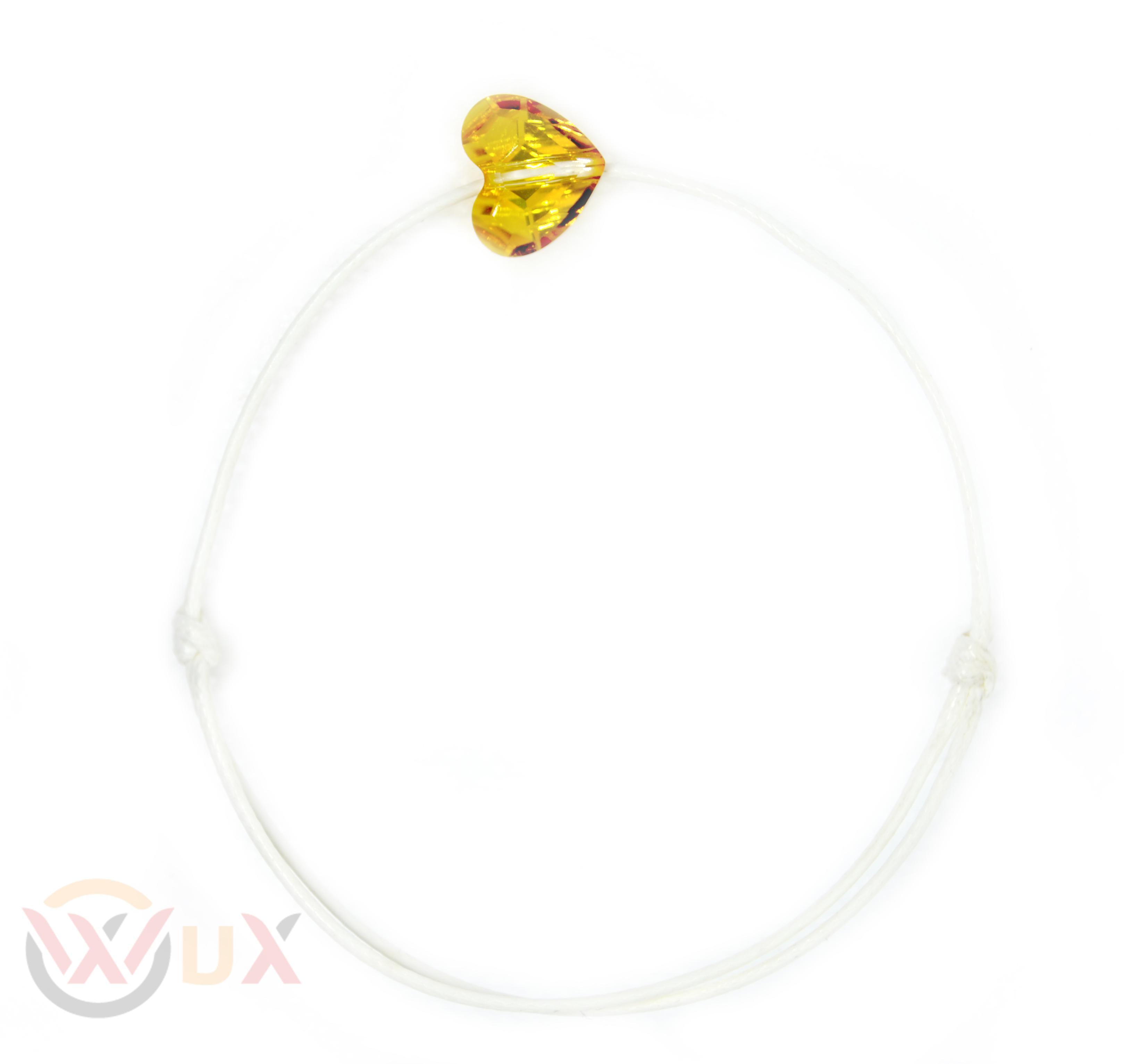Šňůrkový náramek zlaté srdíčko SWAROVSKI Pánský, Bílá
