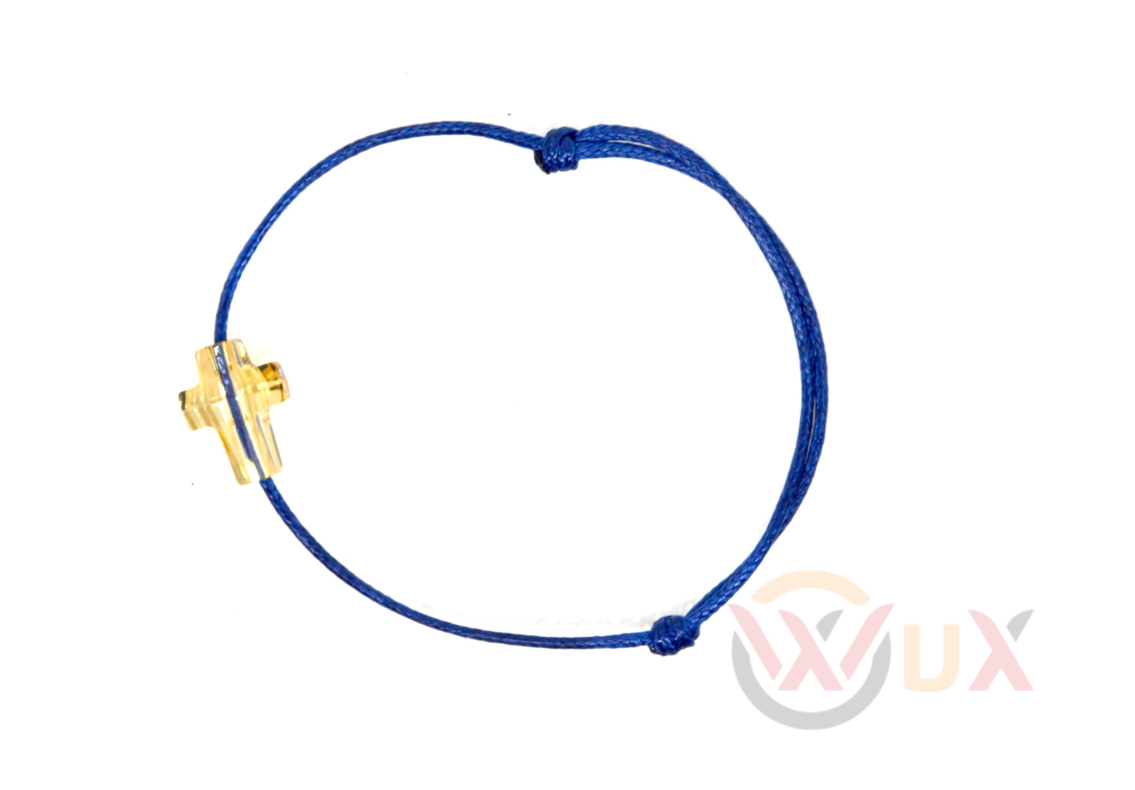 Šňůrkový náramek zlatý křížek SWAROVSKI Dámský, Modrá