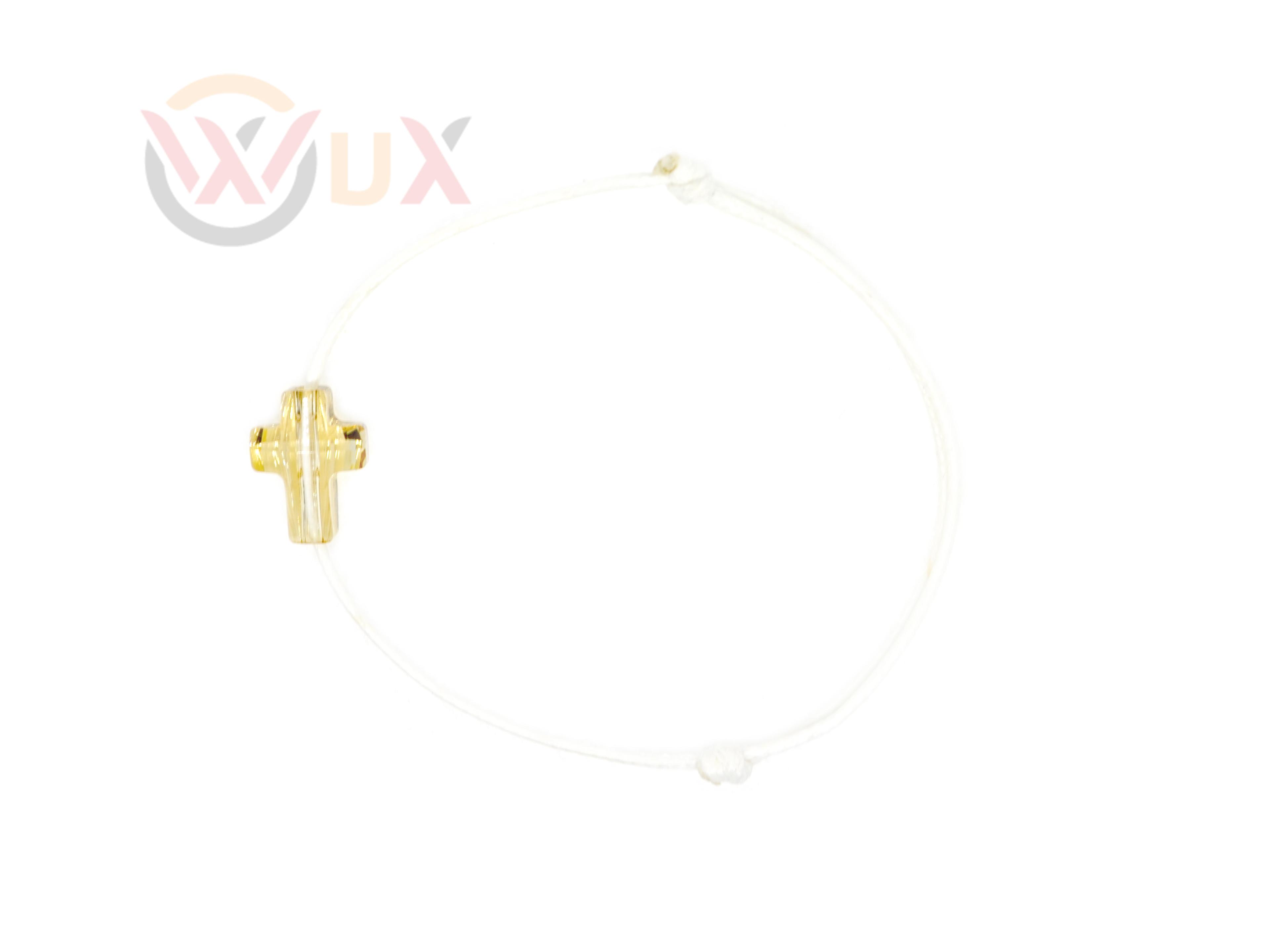 Šňůrkový náramek zlatý křížek SWAROVSKI Dámský, Bílá