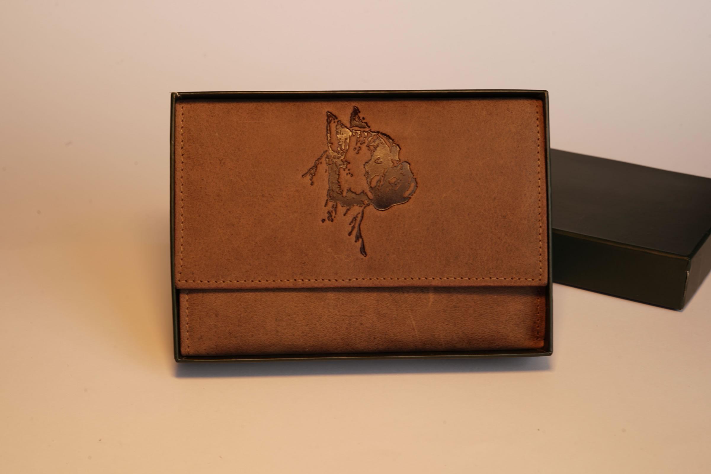 grawerowany mały portfel damski ze skóry