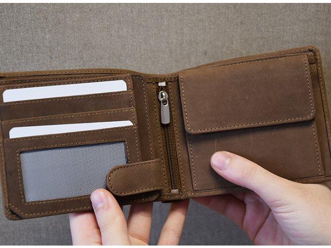 portfel męski skórzany dla górnika z motywem żeloska, pyrlika i napisem Szczęść Boże