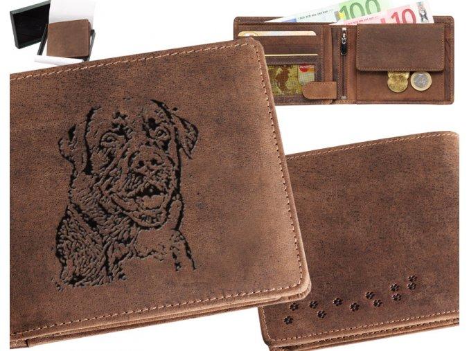 portfel męski skórzany grawerowany labrador