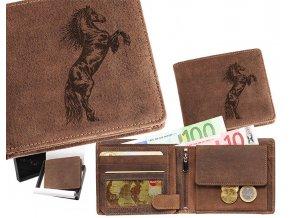 portfel męski skórzany z motywem konia