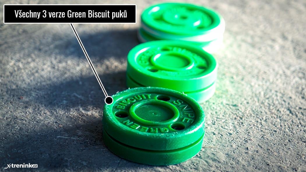 Tři verze GB puků, jediný na střelbu je Green Biscuit Snipe