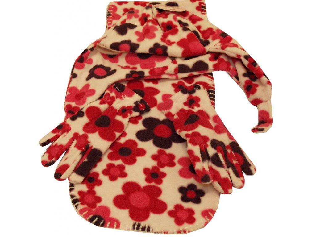 Dívčí čepice, šála, rukavice světle růžové