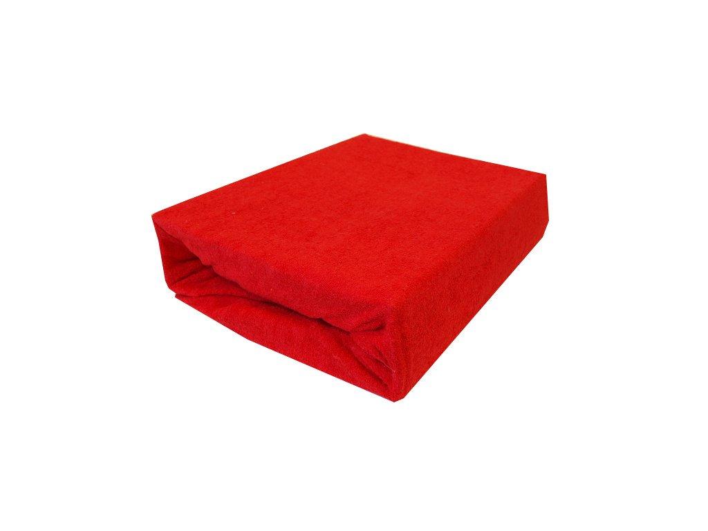 Prostěradla froté dvojlůžko červené 180/200 cm