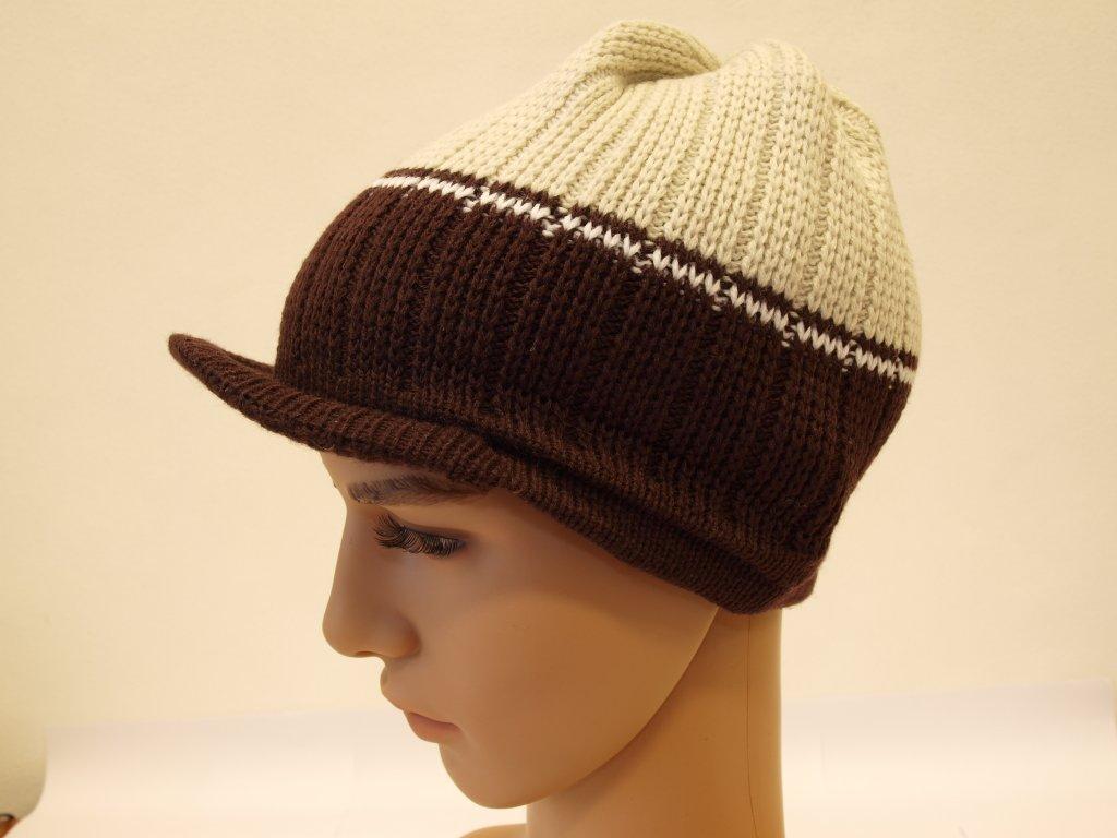 Pánská pletená čepice s kšiltem, béžovo-hnědá