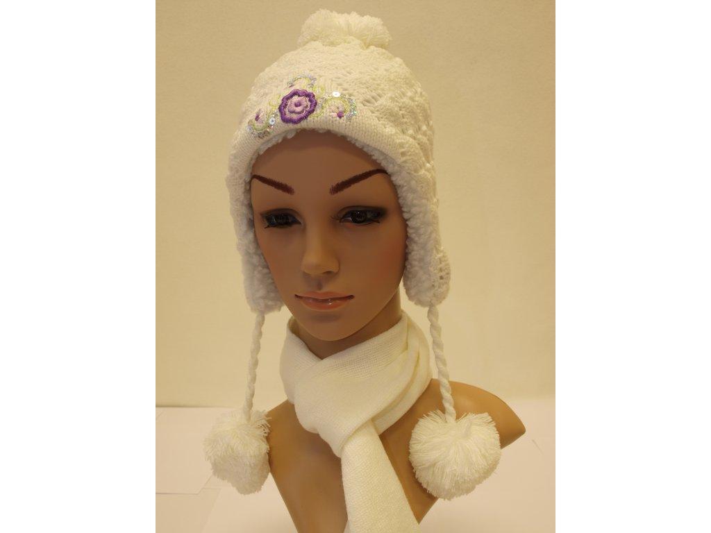 Dívčí zimní čepice smetanová
