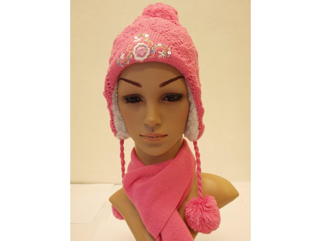 Dívčí čepice tmavě růžová