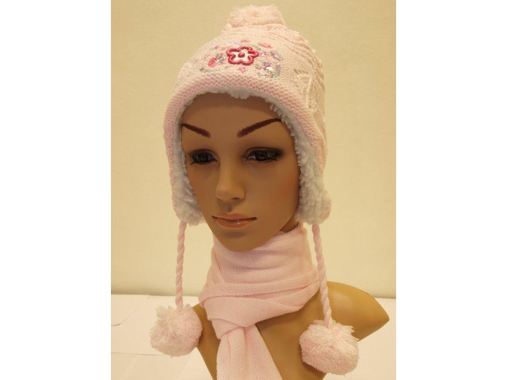 Dívčí čepice světle růžová model A