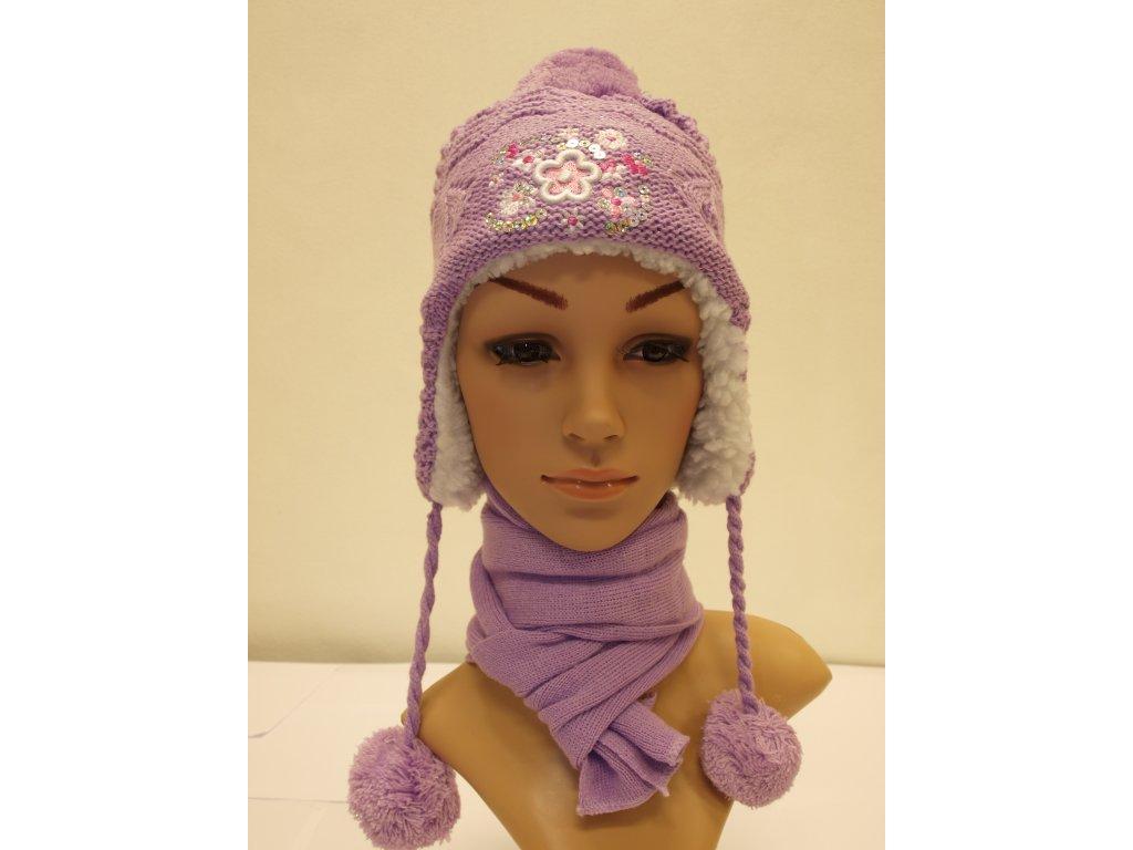Dívčí čepice fialová