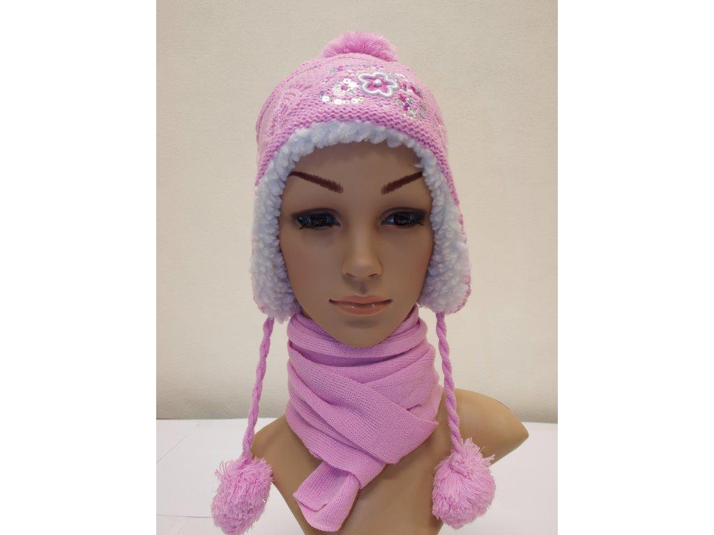 Dívčí zimní set růžovofialový