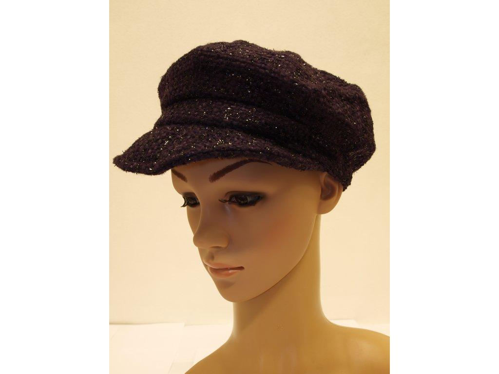Dámská čepice s kšiltem, tmavě fialová