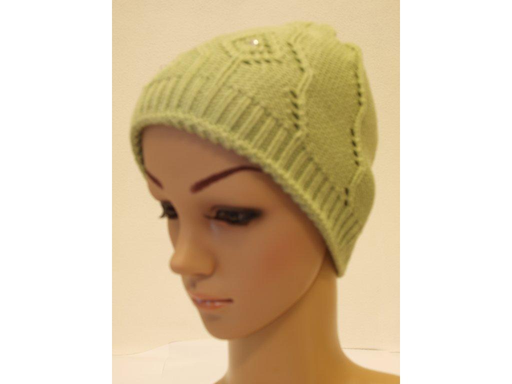 Dámská pletená čepice s kamínky, světle zelená