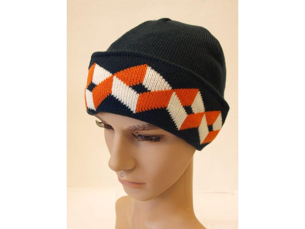 Pánská čepice, modro-oranžová