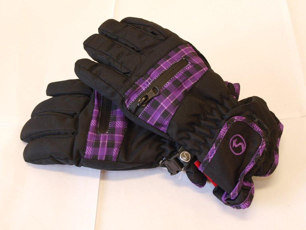 Dětské rukavice černé s fialovou kostičkou