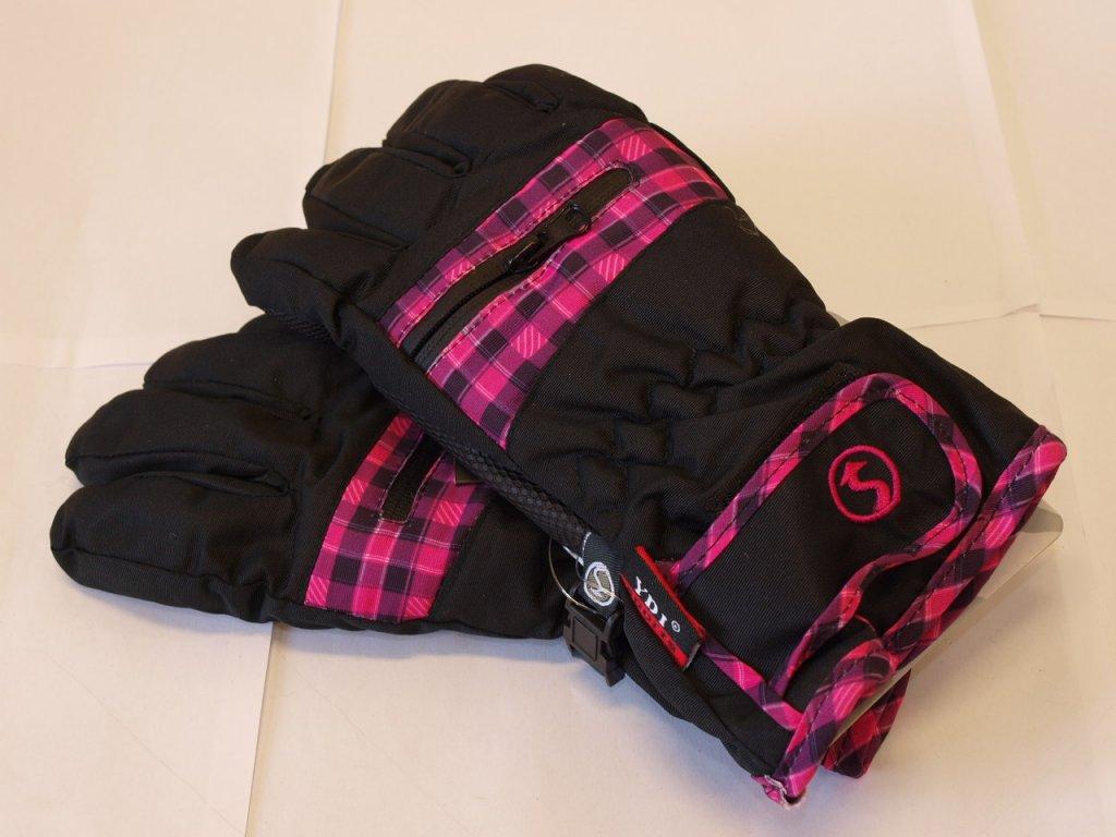 Dětské rukavice černé s růžovou kostičkou