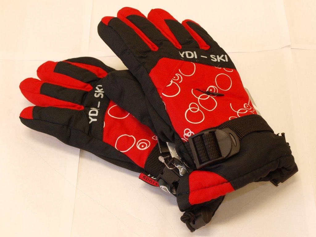 Dětské rukavice erné s červenou