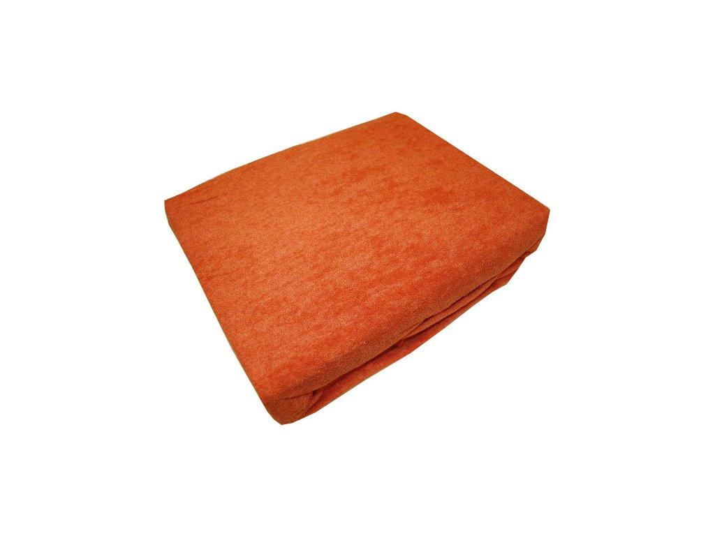 Prostěradlo froté 140/200 cm tmavě oranžové