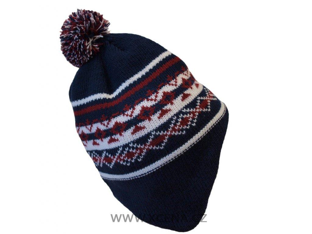Zimní čepice podšitá fleecem modrá s červenou