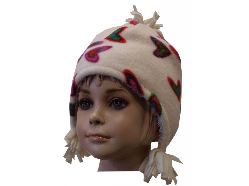Dívčí čepice zimní, podšitá bílá