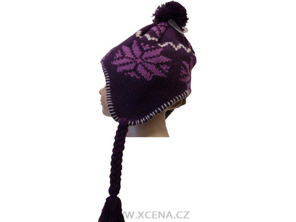 Zimní čepice podšitá fleecem fialová