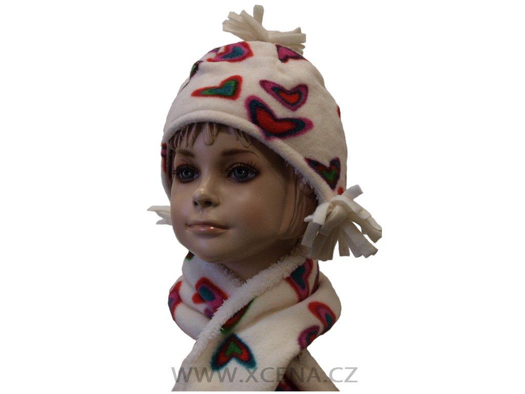 Dětská zimní čepice se šálou bílá