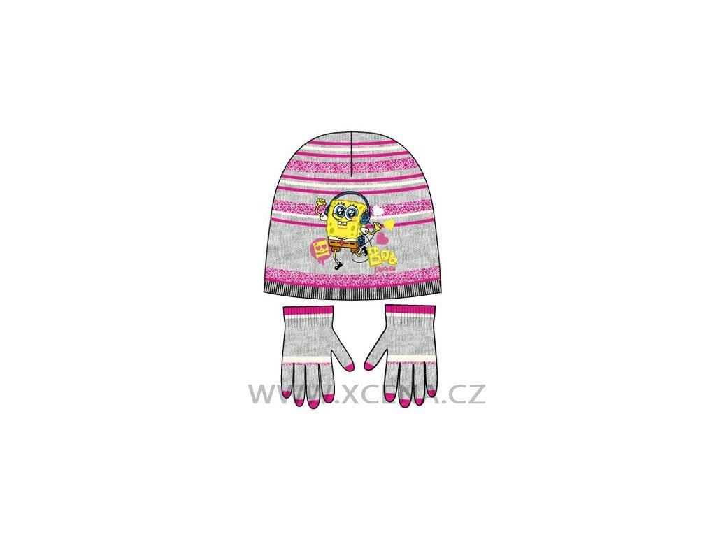 Sponge bob čepice rukavice set