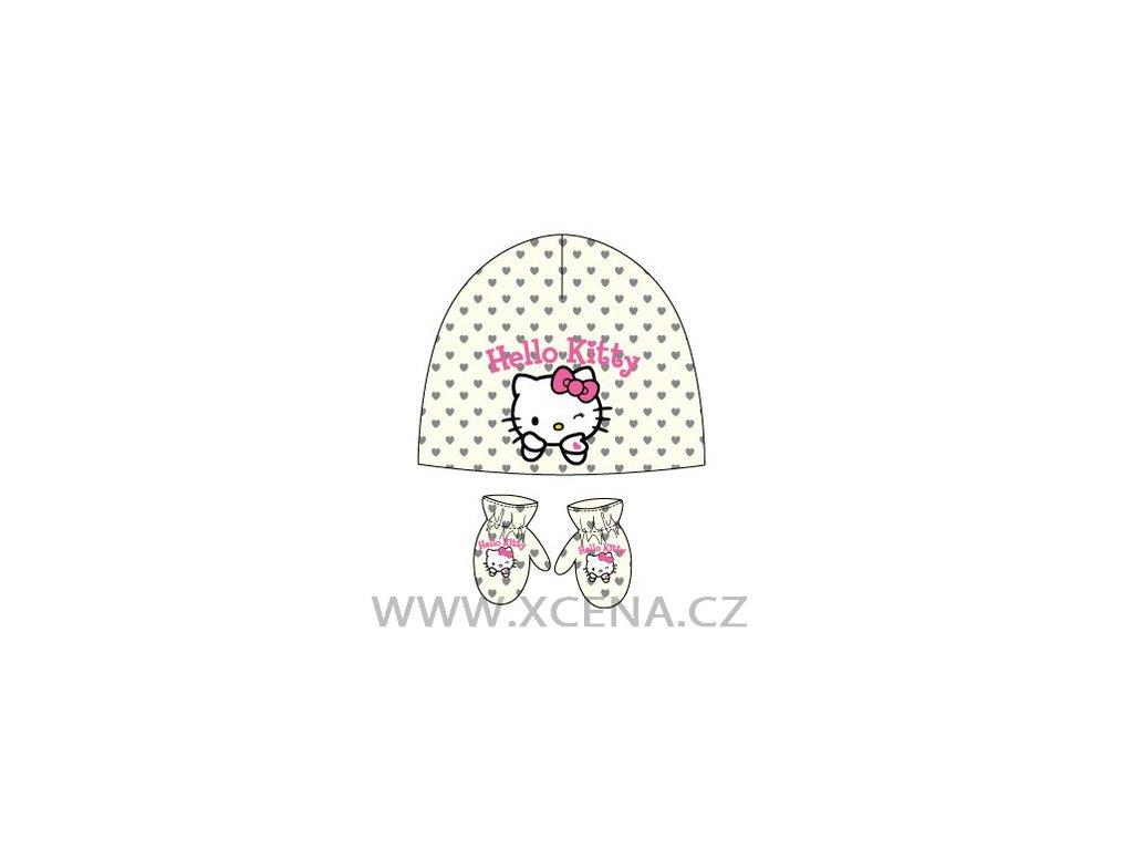 Hello Kitty čepice rukavice bílé