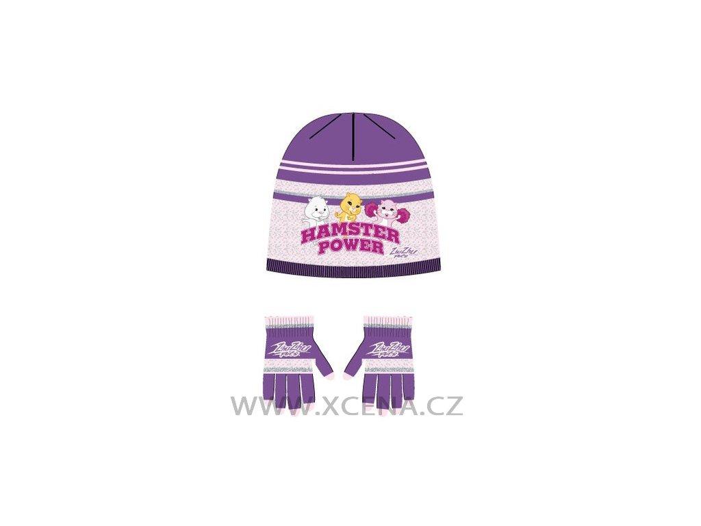 Zhu Zhu Pets čepice rukavice fialové