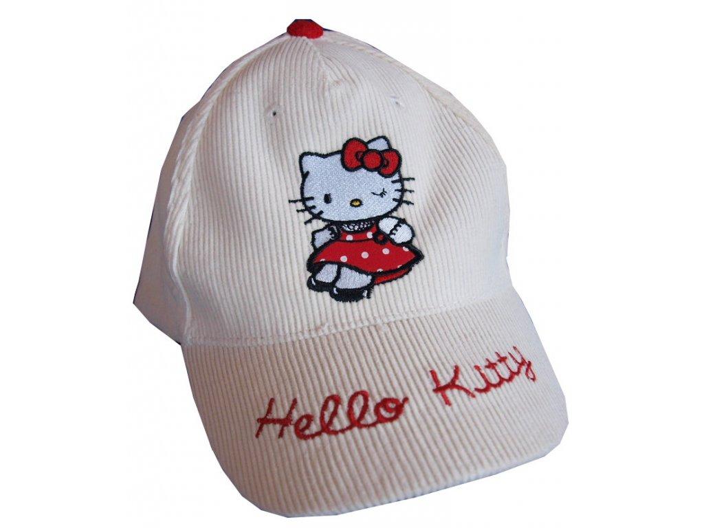 Dívčí čepice Hello Kitty smetanová